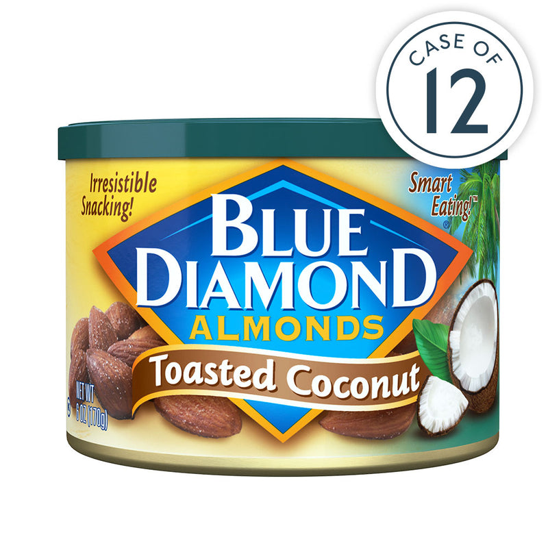 Case of 12, 6oz cans of Toasted Coconut Almonds
