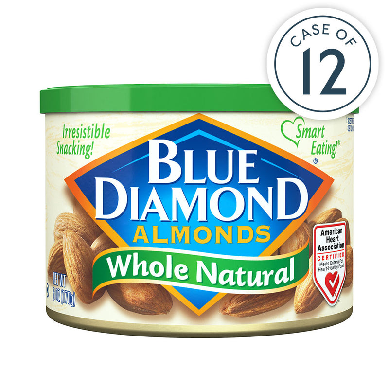 Case of 12, 6oz Cans of Whole Natural Almonds