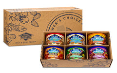 Product image of box showing 6 cans of Blue Diamond almonds