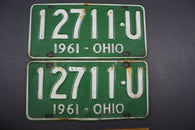 1961 Vintage Original Ohio License Plate 12711-U PAIR