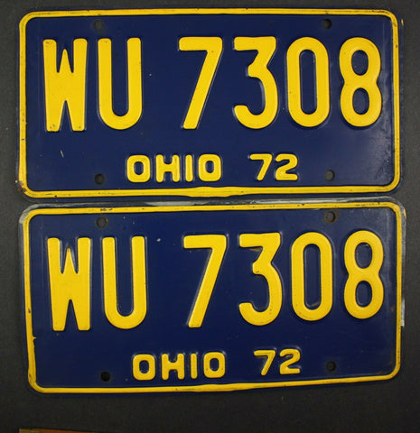 1972 Vintage Original Ohio License Plate WU-7308 PAIR