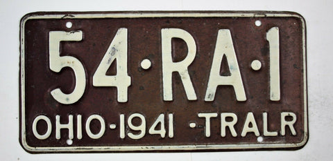 Vintage 1941 Original OHIO Trailer License Plate 54-RA-1