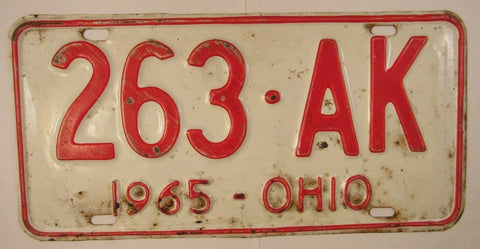 1965 Vintage Original OHIO License Plate 263-AK