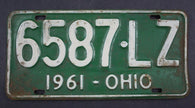 1961 Vintage Original Ohio License Plate 6587-LZ