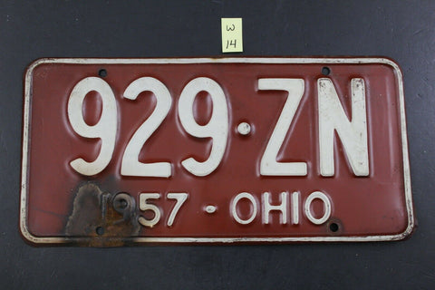 Vintage 1957 OHIO License Plate 929-ZN (W14