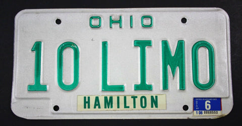Vintage 1985 Original OHIO Vanity License Plate 10 LIMO