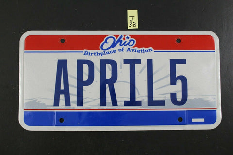 Vintage 2001 OHIO License Plate APRIL5 APRIL-5 Bicentennial J38