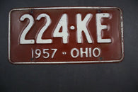 1957 Original Vintage Ohio License Plate 224-KE