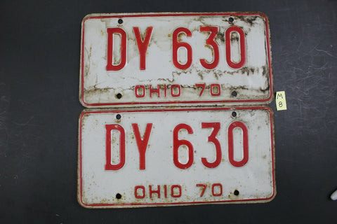 Vintage 1970 OHIO License Plate DY-630 PAIR (M8