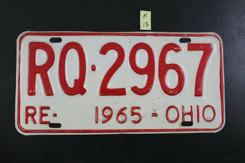 Vintage 1965 OHIO License Plate REISSUE RQ-2967 (K15