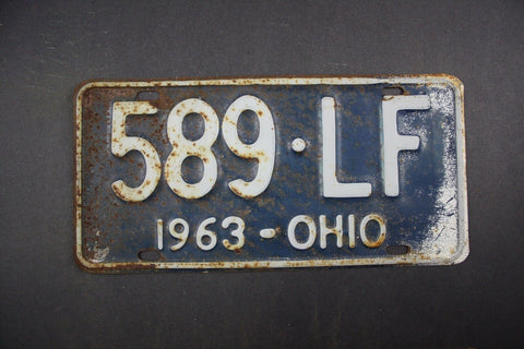 1963 Vintage Original Ohio License Plate 589-LF