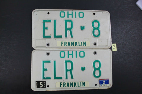1990 Original Vintage Ohio License Plate ELR 8 PAIR FRANKLIN COUNTY S7