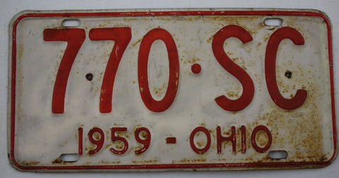 1959 Vintage Original OHIO License Plate Tag 770-SC
