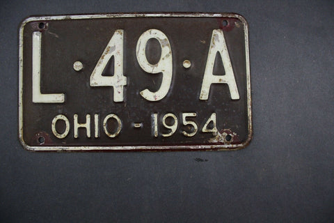 1954 Original Vintage Ohio License Plate L-49-A