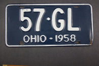 1958 Vintage Original Ohio License Plate 57-GL