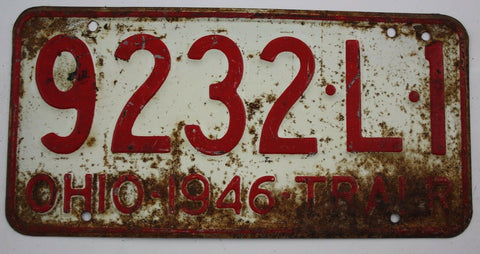 1946  Vintage Original OHIO License Plate 9232-L-1