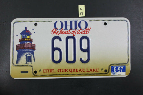 1996 OHIO License Plate 609 Embossed Lighthouse 1997 Sticker O-39