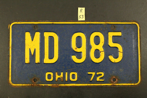 1972 Original Vintage Ohio License Plate MD 985 R53