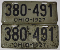 1927 Vintage Original Ohio License Plate Tag 380-491  PAIR