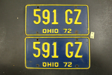 Vintage 1972 OHIO License Plate 591-GZ PAIR (Q-18