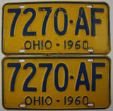 1960 Vintage Original OHIO License Plate 7270-AF PAIR