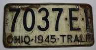 1945 Vintage Original OHIO License Plate 7037-E-1  TRAILER
