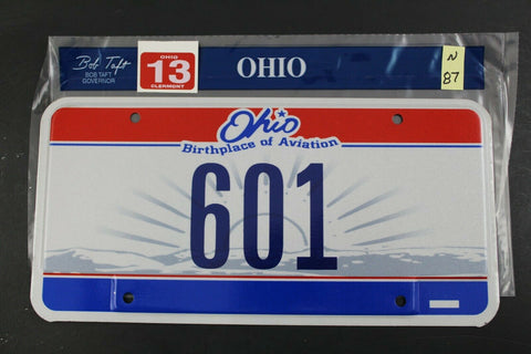 2004 OHIO License Plate 601 w 13 Clermont County Sticker UNUSED N-87