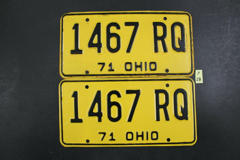 Vintage 1971 OHIO License Plate 1467-RQ PAIR (P-28