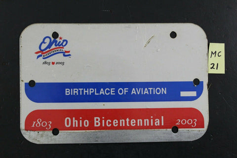 Vintage 2001 OHIO MOTORCYCLE License Plate Miscut / Unissued Blank (MC21