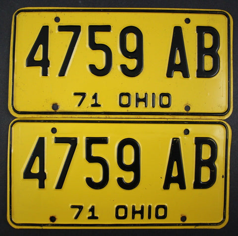 1971 Vintage Original Ohio License Plate 4759-AB PAIR