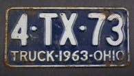 1963 Vintage Original Ohio License Plate 4-TX-73 TRUCK