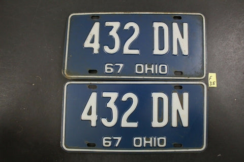 Vintage 1967 OHIO License Plate 432-DN PAIR (F35