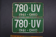 1961 Vintage Original Ohio License Plate 780-UV PAIR