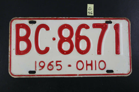 Vintage 1965 OHIO License Plate BC-8671 (G46