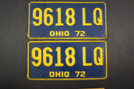1972 Vintage Original Ohio License Plate 9618-LQ PAIR
