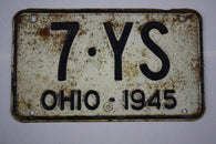 1945 Vintage Original Ohio License Plate Tag 7-YS