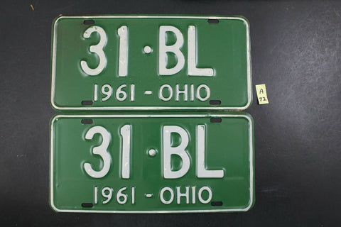 Vintage 1961 OHIO License Plate 31-BL PAIR (A72-B)