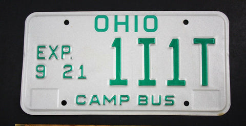 Vintage 1985 Original OHIO Camp Bus License Plate 1I1T