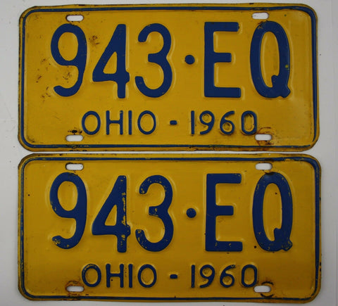 1960 Vintage Original OHIO License Plate 943-EQ PAIR