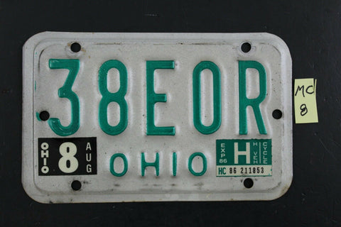 Vintage 1985 OHIO MOTORCYCLE License Plate 38EOR 1986 Sticker (MC8