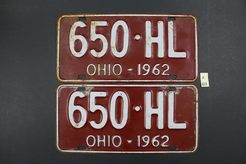 Vintage 1962 - OHIO - License Plate - 650-HL - Matching Pair (X-122