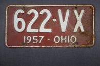 1957 Vintage Original Ohio License Plate  622-VX