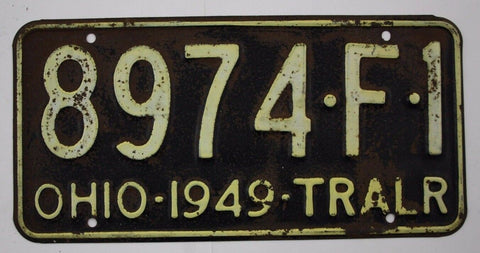 1949 Vintage Original OHIO License Plate 8974-F-1 TRAILER