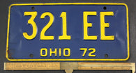 1972 Vintage Original OHIO License Plate  321-EE