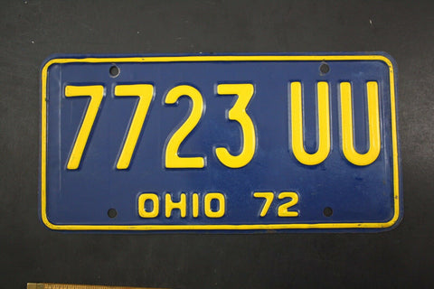 1972 Vintage Original OHIO License Plate 7723-UU