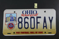 1996 OHIO License Plate 860FAY Pro Football Hall of Fame Canton OH (B27