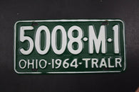 1964 Vintage Original OHIO License Plate 5008-M-1 TRAILER