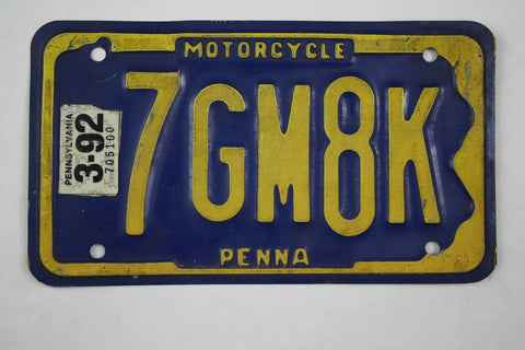 1992 Vintage Original Pennsylvania Motorcycle License Plate 7GM8K
