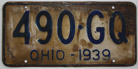 1939 Vintage Original OHIO License Plate 490-GQ