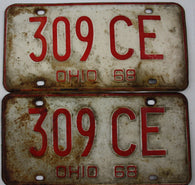 1968 Vintage Original OHIO License Plate Tag 309-CE PAIR